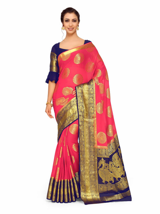Mimosa Art Chiffon silk Wedding saree Kanjivarm Pattu style With Contrast Color Blouse - kupindaindia