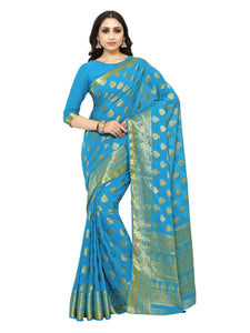 Mimosa chiffon saree with unstiched blouse - turquoise