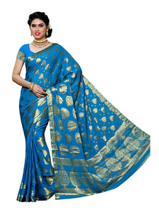 MIMOSA Zari Work Chiffon Kanjivaram Saree with Running Blouse in Color Sky Blue (3421-2101-anda) - kupindaindia