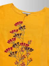 Mimosa cotton mustard yellow colour embroidered straight