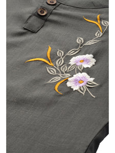 Mimosa cotton olive green colour embroidered straight casual