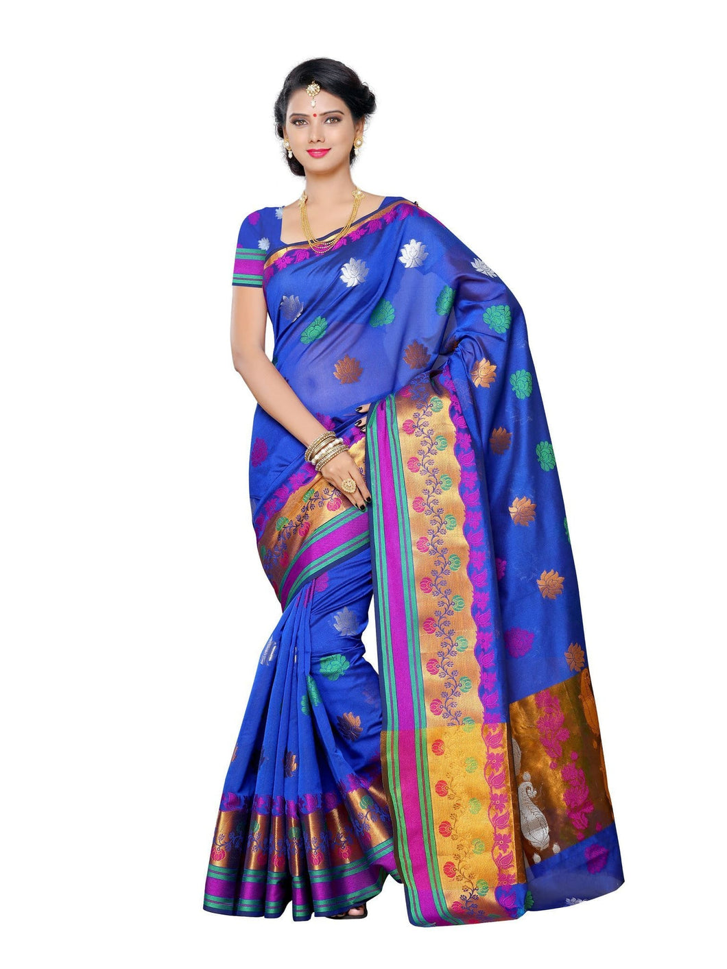 MIMOSA Multicolor Floral Kanjivaram Art Silk Saree with Blouse in Color Violet (3286-ab-139-violt) - kupindaindia