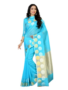 Mimosa cotton saree with unstiched blouse - blue