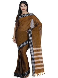 Mimosa cotton saree with unstiched blouse - brown