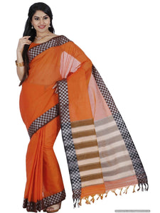 MIMOSA Checked Design Border Banarasi Style Cotton Saree with Blouse in Color Orange (3326-hmk-12-gd-org) - kupindaindia
