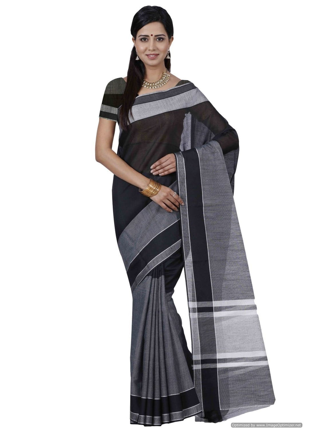MIMOSA Plain Design Banarasi Style Cotton Saree with Blouse in Color Grey (3401-nsm-1-grey) - kupindaindia