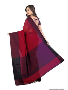 MIMOSA Soft Cotton Saree with Contrast Border and Blouse - Maroon and Black (3032-ap-7000-marunblk) - kupindaindia