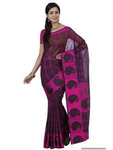 Mimosa  Cotton Saree Ikkat Style Color :Dark Pink (3387-RZ-4-BLP-RNI) - kupindaindia