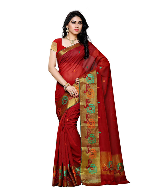 MIMOSA Hand Embroidery Work Cotton Kanjivaram Saree with Blouse in Color Maroon (3415-os-kh-2-mrn) - kupindaindia