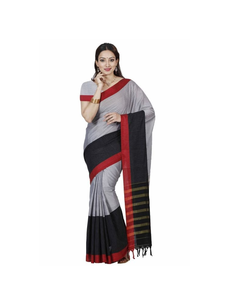 MIMOSA Grey Color Cotton Saree with Plain Blouse (3335-hmk-21-grey) - kupindaindia