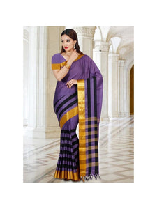 MIMOSA Cotton Saree with Blouse in Color Lavender (3332-hmk-18-lev) - kupindaindia