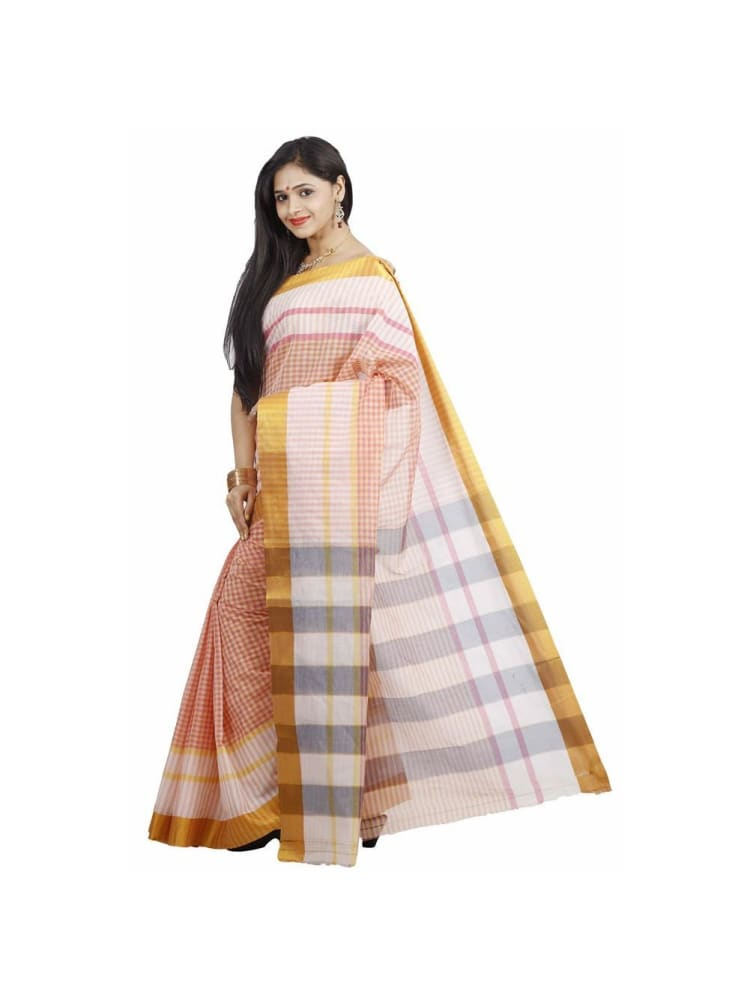 MIMOSA Checked Cotton Saree With Blouse in color Baby Pink (3325-hmk-11-pink) - kupindaindia