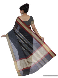 MIMOSA Striped Banarasi Style Cotton Saree with Blouse in Color Black (3402-nsm-2-blk) - kupindaindia