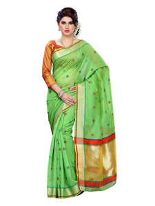 MIMOSA Butta Thread Work Cotton Saree and Contrast Blouse in Color Green (3148-rz-7-green) - kupindaindia