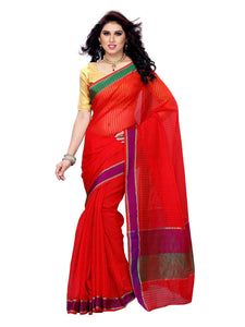 MIMOSA Elegant Stripped Design Cotton Saree with Blouse in Color Orange (3146-rz-5-orng) - kupindaindia