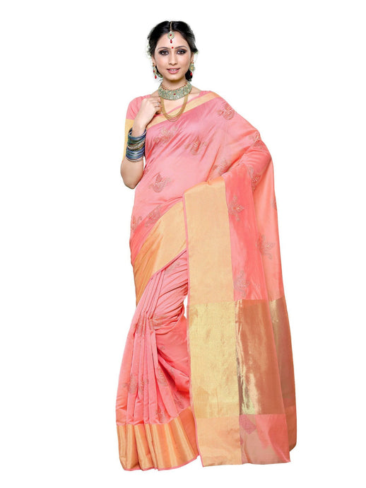 MIMOSA Hand Embroidery Work Cotton Ethnic Wear Saree with Blouse in Color Peach (3259-71-ab-peach) - kupindaindia