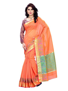 MIMOSA Simple Floral Design Zari Cotton Traditional Saree and Blouse Peach (3137-7086-ab-peach) - kupindaindia
