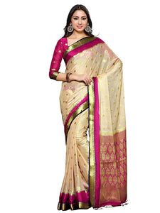 Mimosa crepe saree with unstiched blouse - beige