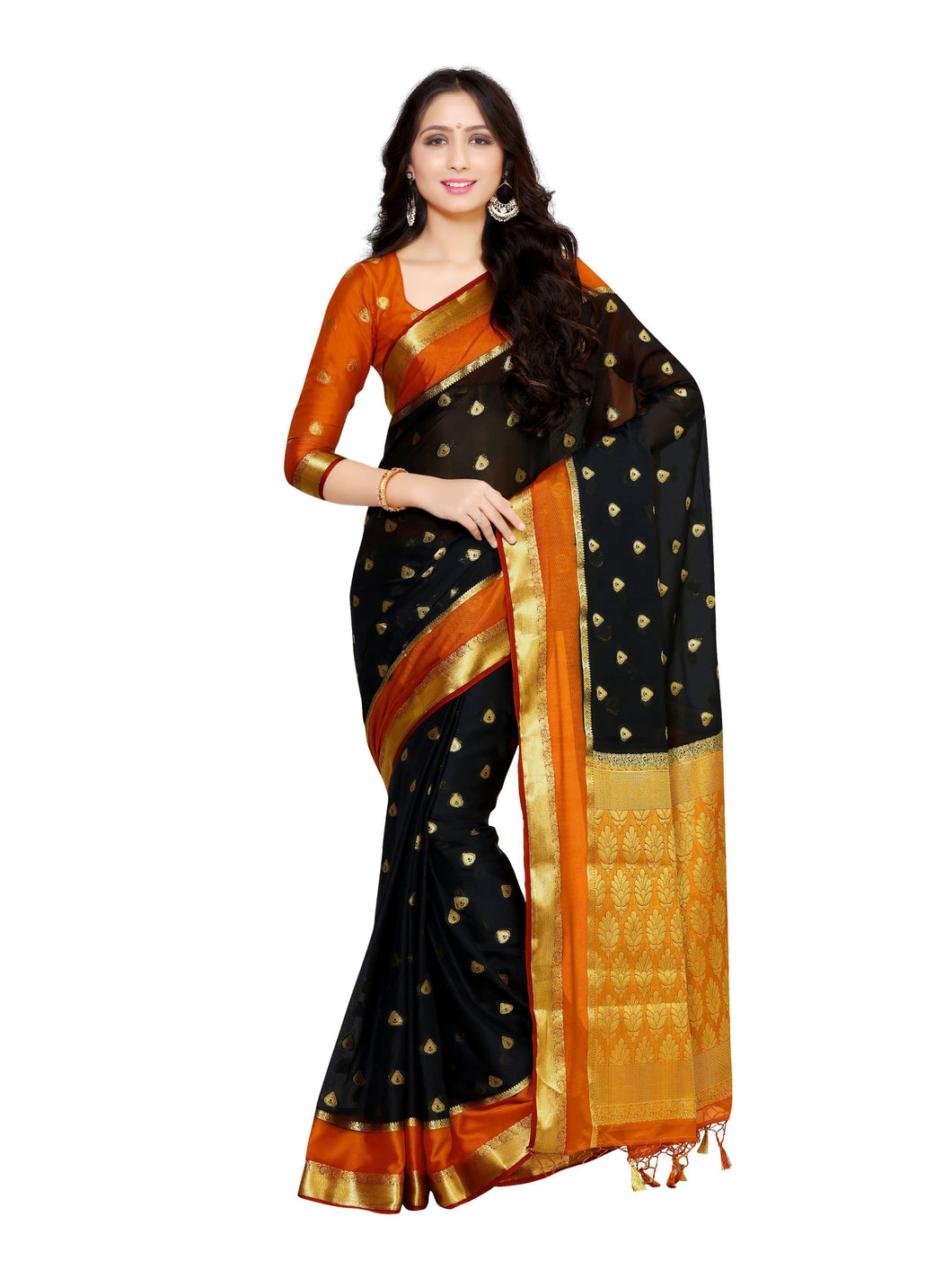 MIMOSA Designer Work Crepe Kanjivaram Style Saree with Blouse in Color Black (4036-2133-3d-blk) - kupindaindia