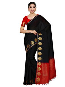 MIMOSA Black and Red Plain Crepe Kanjivaram Style Saree with Contrast Unstiched Blouse (4031-235-blck) - kupindaindia