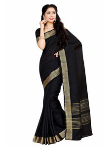 MIMOSA Simple Zari Crepe Kanjivaram Style Saree with Blouse in Color Black (4035-2126-sd-blk) - kupindaindia