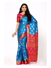 Mimosa crepe saree with unstiched blouse - blue