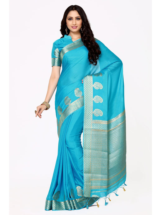 MIMOSA Designer Pallu Crepe Silk Kanjivaram Style Saree with Running Blouse in Color Sky Blue (4005-2108-and) - kupindaindia