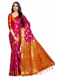MIMOSA Gold Flower Design Crepe Kanjivaram Style Saree with Blouse in Color Dark Pink (4042-236-rd-2d-rni-gld) - kupindaindia
