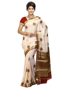 MIMOSA Butta Design Crepe Saree with Un-Stitched Blouse in Color Off White (3204-creap-em-hw-mrn) - kupindaindia