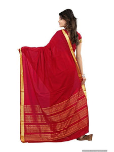 MIMOSA Simple Border Crepe Saree with Blouse Color Maroon (3037-creap-marun) - kupindaindia