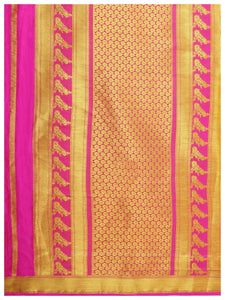 Mimosa Art  Crape silk  Wedding saree Kanjivarm Pattu style With Contrast Blouse Color: Gold (4250-2256-2D-GLD-RNI) - kupindaindia