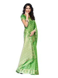 MIMOSA Beautiful Butta Work Crepe Saree with Blouse in Color Pista (3198-2075-pista) - kupindaindia