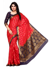 MIMOSA Designer Zari Crepe Kanjivaram Style Saree with Blouse in Color Strawberry (4107-283-2d-strw-nvy) - kupindaindia