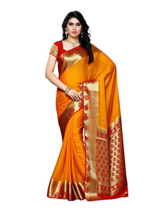 MIMOSA Latest Collection Crepe Kanjivaram Style Saree with Blouse in Color Gold and Red (3391-2112-gld-rd) - kupindaindia