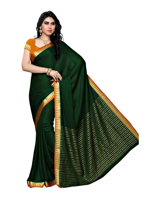 MIMOSA Striped Pallu Crepe Kanjivaram Style Saree with Blouse in Color Bottle Green (3431-2121-bgrn-mst) - kupindaindia