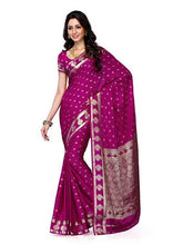 Mimosa crepe saree with unstiched blouse - magenta