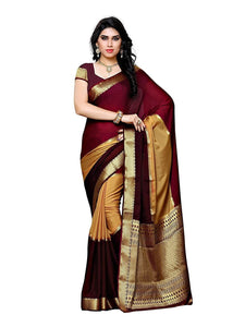 Mimosa crepe saree with unstiched blouse - maroon