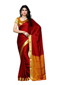 MIMOSA Designer Collection Crepe Kanjivaram Saree with Blouse in Color Maroon and Mustard (3390-2113-mrn-mst) - kupindaindia
