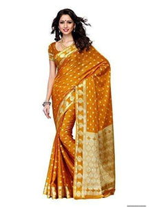 Mimosa crepe saree with unstiched blouse - mustard