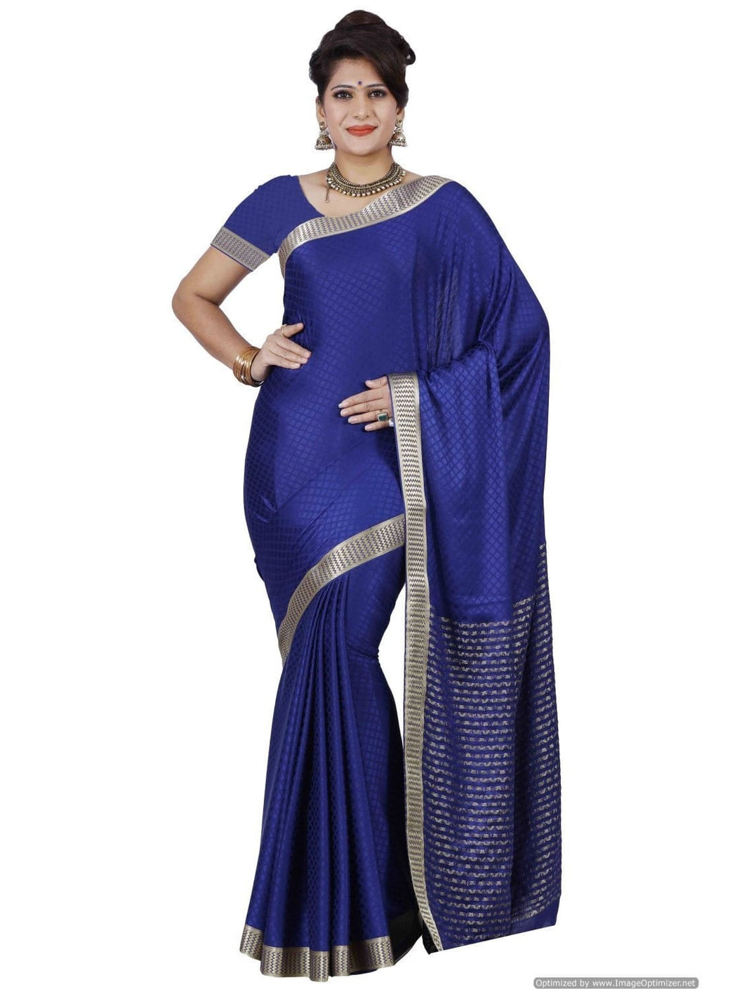MIMOSA Check Design Crepe Kanjivaram Style Saree with Blouse in Color Navy Blue (3398-2097-nvy) - kupindaindia