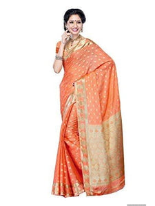 Mimosa crepe saree with unstiched blouse - peach