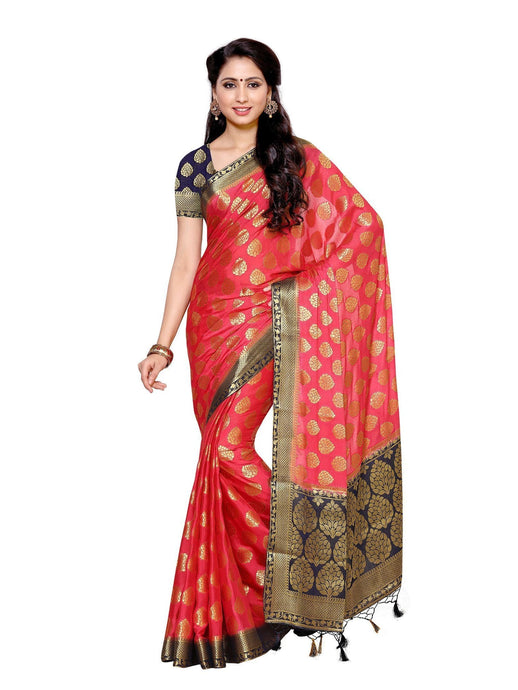 MIMOSA Leaf Pattern Crepe Silk Kanjivaram Style Saree with Blouse in Color Strawberry (4015-2136-2d-strw-nvy) - kupindaindia