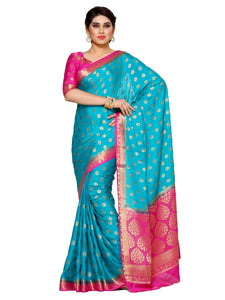 Mimosa crepe saree with unstiched blouse - turquoise