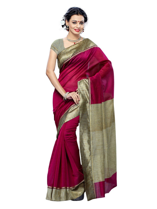MIMOSA Designer Broder Cotton Alluring Saree and Blouse in Color Magenta (3141-7092-ab-mej) - kupindaindia