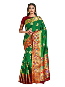 Mimosa dharmavaram style art silk saree - green