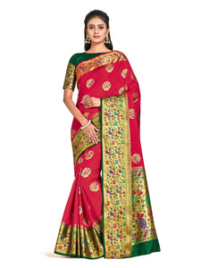 Mimosa dharmavaram style art silk saree - red