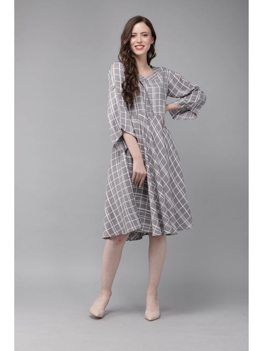 Mimosa grey color checkered round neck a-line dress for