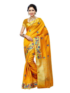 Mimosa hand embroidery tussar silk saree with blouse - gold