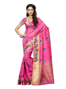 Mimosa hand embroidery tussar silk saree with blouse - pink
