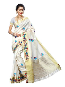 MIMOSA Hand Embroidery Tussar Silk Saree with Blouse in Color Off White (3220-2085-emb-hwht) - kupindaindia